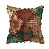 Donna Sharp Throw Pillow - Campfire Lodge Decorative Throw Pillow with Patchwork Pattern - Pillow