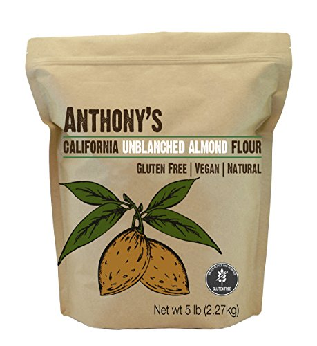 Almond Meal / Flour, Natural Unblanched by Anthony's, 5 Pounds (5lb), Batch Tested Gluten Free