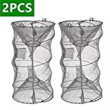 ieasky Fishing Bait Trap,2 PCS Crab Trap Crawfish Trap Lobster Shrimp Collapsible Cast Net Fishing Nets Portable Folded Fishing Accessories,12.6X20.1inches