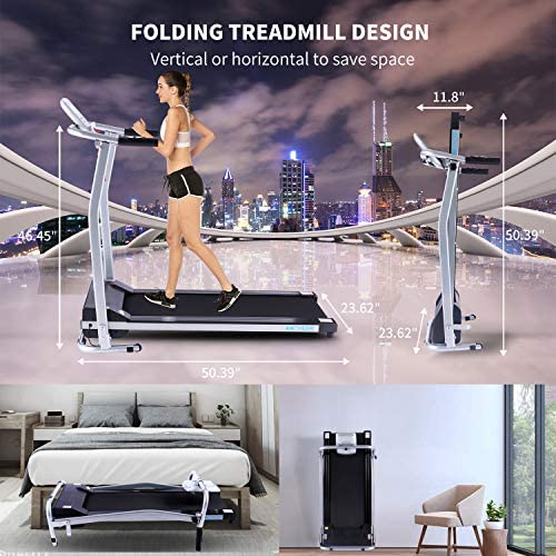 ANCHEER Folding Treadmill, Treadmills for Home with LCD Monitor Motorized,Pulse Grip and Safety Key,Top Indoor Exercise Machine Trainer Walking Running for Home & Office Workout 7