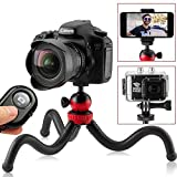 Flexible Tripod for iPhone, 12' Smartphone Tripod + High-Speed Bluetooth Remote for iPhone, Samsung, Compact Gorilla Tripod Stand 360° for GoPro, Cell Phone and DSLR Camera (Tripod + Remote)