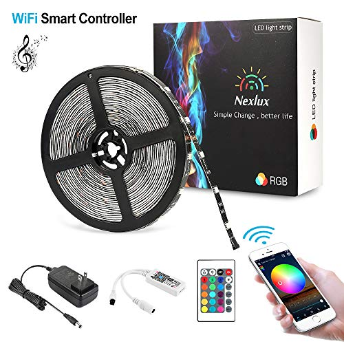 Nexlux Led Light Strip, WiFi Wireless Smart Phone Controlled 32.8ft Non-Waterproof Strip Light Kit Black PCB 5050 LED Lights,Working with Android and iOS System,IFTTT