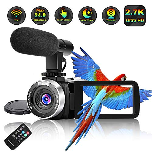 Video Camera Camcorder,Ultra HD 2.7K Vlogging Camera 30 FPS 24MP WiFi Camcorders with Microphone IR Night Vision YouTube Camera with Time Lapse & Motion Detection (8V)