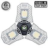 Garage Light 6000 Lm Deformable LED Garage Ceiling Lights 60W CRI 80 Led Workshop Lights for Garage Adjustable Panels Tribright Led Garage Lighting Basement Light(60W Standard)
