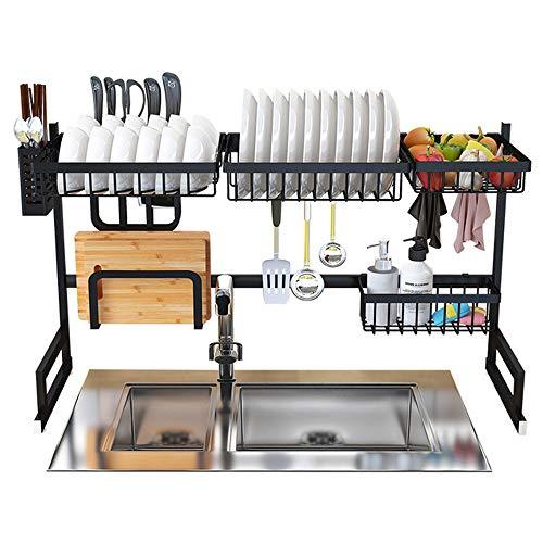 Dish Drying Rack Over Sink Display Stand Drainer Stainless Steel Kitchen Supplies Storage Shelf Utensils Holder (Black)