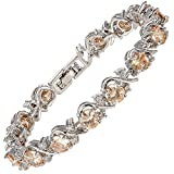 RIZILIA Blossom Round Champagne Color Gems and White Cubic Zirconia 18K White Gold Plated Tennis Bracelet, 7'