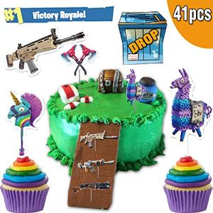Video Games Cake Toppers Cupcake Toppers 33pcs, Battle Royale Cake Toppers Cupcake Toppers Kids Birthday Party Supplies for Game Fans , Cake Decorations for Birthday Parties, School Party, Game Night! 51RWZsXYZRL