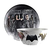 "Zak Designs DC Comics ""Justice League"" Movie Dinnerware Set Set! Includes Plate, Bowl! BPA Free, 2pc"