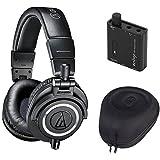 Audio Technica ATH-M50X Headphones + Slappa Case + Headphone Amplifier (Black)