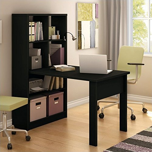 South Shore Work Table for 2 and Storage Unit Combo, Pure Black