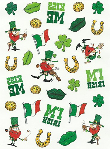 Saint Patrick's Fun! Glitter Tattoos - 1 Sheet 30 Count