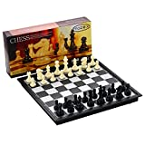 Folding Travel Chess Set by MAZEX Kids or Adults Chess Board Game 9.8X9.8X0.8 Inch (Black&White Chess Pieces)