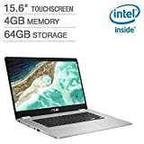 2019 Newest Asus Chromebook 15.6' Full HD Touchscreen 1080p, Intel N4200 Quad-Core Processor 2.5GHz, 4GB RAM, 64GB Storage, Brushed Aluminum Chassis