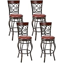 """COSTWAY Bar Stools Set of 4, 360 Degree Swivel, 29.5"""" Seat Height Bar stools, with Leather Padded Seat Bistro Dining Kitchen Pub Metal Vintage Chairs (Set of 4)"""