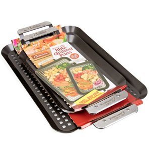 Grill-Topper-BBQ-Grilling-Pans-Set-of-2-Non-Stick-Barbecue-Trays-w-Stainless-Steel-Handles-for-Meat-Vegetables-and-Seafood