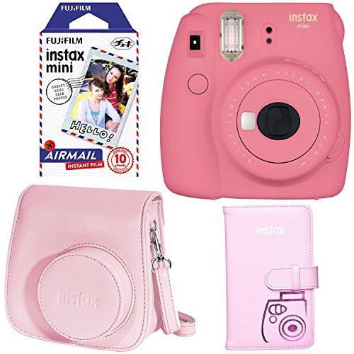 Fujifilm Instax Mini 9 Instant Camera – Flamingo Pink, Fujifilm Instax Mini Airmail Film, Fujifilm INSTAX WALLET ALBUM PINK and Fujifilm Instax Groovy Camera Case – Pink