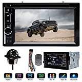 Double 2 Din Car Stereo with Rear View Parking Camera 6.2' Touch Screen for Ford F150 F250 F350 F450 F550 2004-2016, Support Mirror Link Steering Wheel Control DVD CD Player Bluetooth USB TF AM FM