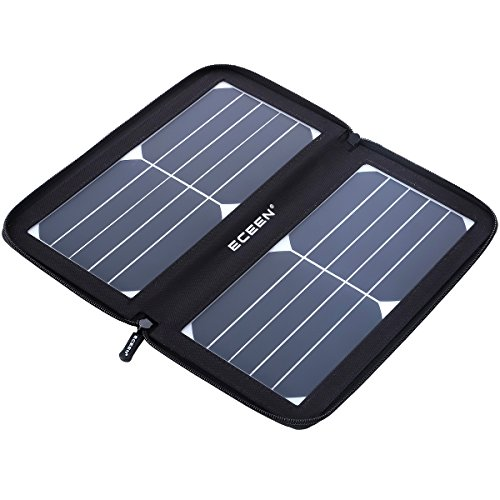 ECEEN Solar Charger Panel with 10W High Efficiency Sunpower Cells & Smart USB Output for Smart Mobile Phone Tablets Device Power Supply Waterproof Portable Foldable Travel Camping Outdoor Activities