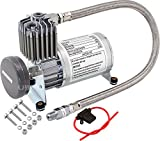 Vixen Horns 150 PSI Heavy Duty Train Horn/Suspension/Air Ride/Bag Air Compressor/Pump with 1/4' Stainless Steel Braided Hose and 1/4' NPT Check Valve 12V Chrome VXC8801