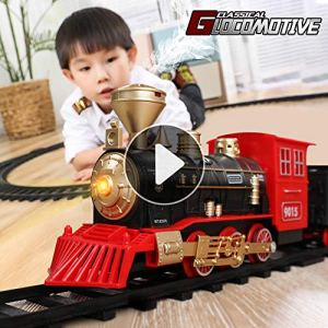TEMI Electronic Classic Railway Train Sets w/ Steam Locomotive Engine, Cargo Car and Tracks, Battery Operated Play Set Toy w/ Smoke, Light & Sounds, Perfect for Kids, Boys & Girls, Red 51Rc  2B2dLFL