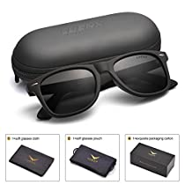 Mens Wayfarer Sunglasses Polarized Womens: UV 400 Protection Glossy Frame 54MM ,by LUENX with Case