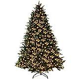 Goplus 7.5Ft Pre-Lit Artificial Christmas Tree Premium Spruce Hinged Tree w/ 540 LED Lights & Pine Cones