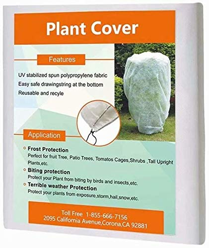 "Agfabric Warm Worth Frost Blanket - 0.95 oz 84""x 72"" Shrub Jacket, Rectangle Plant Cover for Frost Protection"