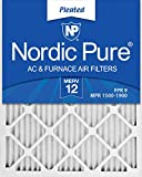 Nordic Pure 20x25x1M12-6 MERV 12 Pleated AC Furnace Air Filters, 20x25x1, 6 Pack