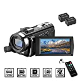 Video Camera Camcorder with Remote Control, Aasonida YouTube Camera 30FPS 1080P with Hot Shoe and 2 Batteries, 24MP 3 Inch Screen 270 Degree Rotation Screen 16X Digital Zoom, Pause Function