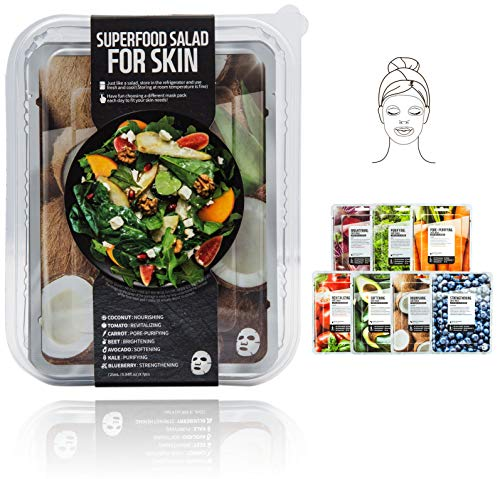 Innerest Superfood Salad Beauty Facial Sheet Mask with Natural Colostrum K-Beauty (Salad D, 7 pcs)