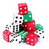 Super Z Outlet Assorted Colorful Dice in White, Red, Green for Board Games, Activity, Casino Theme, Party Favors, Toy Gifts (18 Pack)