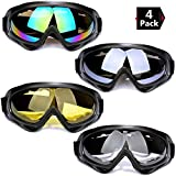 Peicees 4 Pack Ski Goggles Winter Snowboard Adjustable UV 400 Protective Motorcycle Snow Goggles Outdoor Sports Tactical Glasses Dustproof Military Sunglasses for Kids Boys Girls Youth Men and Women