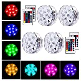 Oaksam 4pcs Submersible LED Light with Remote Controller, Waterproof Battery Powered RGBW 16 colors Light for Crystal Vase Halloween Christmas Party Events Aquarium Garden Wedding Pond Pool Accent Lig