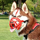 KITAINE Pet Dog Muzzle RED, Soft Ergonomics Basket Rubber Muzzle for Dogs, Small Medium Large Dogs Muzzle to Prevent Biting Chewing Barking, Adjustable Muzzle Allow Breath Drink (2-Snout: 9-10.2'')