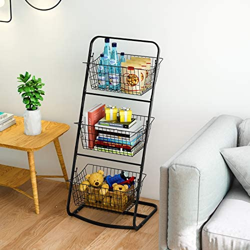 3 Tier Market Basket Stand,HOWDIA Fruit Baskets with Removable Baskets - Kitchen Organizer - Fruit Vegetable Produce Metal Hanging Storage Bin for Pantry Kitchen (3 Tier Basket and 2 Wire Basket)