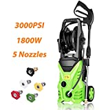 Homdox 3000 PSI Electric Pressure Washer 1.76 GPM Power Washer Machine with Hose Reel and 5 Interchangeable Nozzles