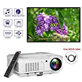 2019 Multimedia HD Home LED Movie Projector Dual HDMI/USB Inputs 4400 Lumen, TFT LCD WXGA High Resolution Video Projector Home Theater Gaming Support 1080P Indoor Outdoor Entertainment TV Party