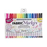 Tulip Permanent Nontoxic Fabric Markers, 20 Pack Multicolor