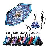 XIAOMOGU Creative Double Layer Inverted Umbrella Cars Reverse Umbrella, Windproof UV Protection Inverted Umbrella for Car Rain Outdoor Upside Down Umbrella with C-Shaped Handle