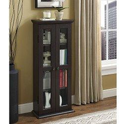 Walker Edison 4 Tier Shelf Living Room Storage Tall Bookshelf Cabinet Doors Home Office Tower Media Organizer, 41 Inch…