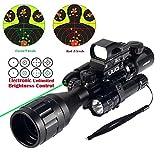 UUQ 4-16x50EG Parallax Adjustable Combo Rifle Scope W/Green Laser, Reflex Sight, and 5 Brightness Modes Flashlight