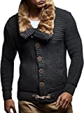 Product review for Leif Nelson LN7100 Men's Turtleneck Cardigan With Faux Fur Collar