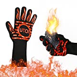 UTOI BBQ Grill Gloves, 1472°F Heat Resistant Barbecue Gloves Oven Mitts for Kitchen Garden BBQ Grilling and Outdoor Cooking Campfire, EN407 Certified, 1 Pair 13 inch Long Extra Forearm Protection