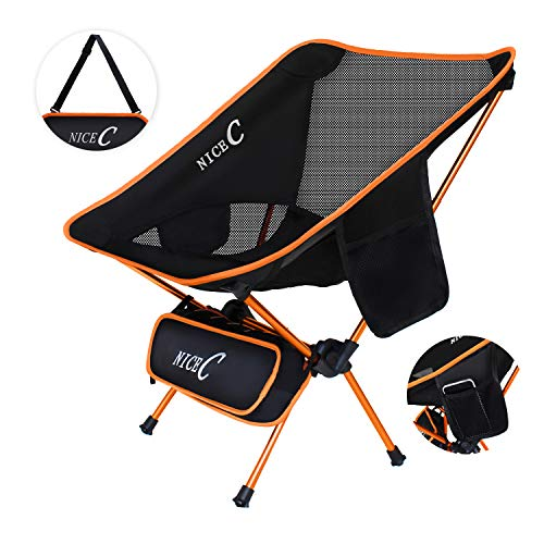 NiceC Ultralight Portable Folding Camping Backpacking Chair Compact & Heavy Duty Outdoor, Camping, BBQ, Beach, Travel, Picnic, Festival with 2 Storage Bags&Carry Bag (Orange)