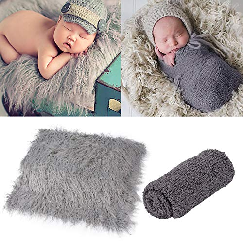 Aniwon 2Pcs Baby Photo Props Long Ripple Wraps DIY Blanket Newborn Wraps Photography Mat for Baby Boys and Girls (Grey & Dark Grey)
