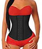 YIANNA Women's Underbust Latex Sport Girdle Waist Trainer Corsets Cincher Hourglass Body Shaper Weight Loss (Black,L)