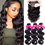 Pizazz Pre Plucked 360 Frontal With Bundles Peruvian Body Wave Human Hair With Closure 360 Free Part Lace Closure With Baby Hair (20 22 24+18nch 360)