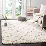 Safavieh Hudson Shag Collection SGH280D Ivory and Beige Moroccan Ogee Plush Area Rug (4' x 6' )