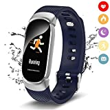 QWMoonRu Upgrade Waterproof Fitness Tracker with Heart Rate Monitor Blood Pressure Blood Oxygen, Activity Tracker Watch with Pedometer, Sleep Monitor, Smart Watch for Men, Women and Kids (Blue)