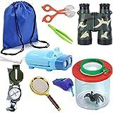HomDSim 9pcs Outdoor Explorer Kit for Kids,Children Adventurer Exploration Equipment Set,Fun Backyard Bug Catching Adventure Set,Camping,Hunting, Hiking,Pretend Play,Draw Pocket,Binoculars,Flashlight